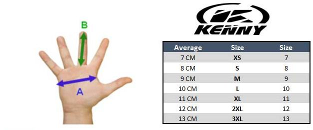 Kenny Racing Gloves Size Chart